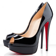 Christian Louboutin Lady 140mm Peep Toe Pumps Black