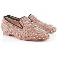 Christian Louboutin Rolling Spikes Loafers Nude