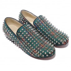 Christian Louboutin Rolling Spikes Loafers Green