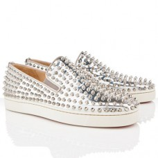 Christian Louboutin Roller Boat Loafers Silver