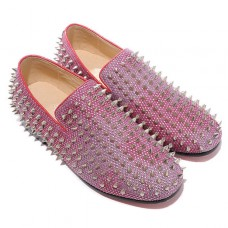 Christian Louboutin Rollerboy Silver Spikes Loafers Red