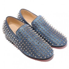 Christian Louboutin Rollerboy Silver Spikes Loafers Blue