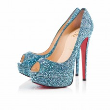 Christian Louboutin Lady Peep Stras 140mm Special Occasion Saphir